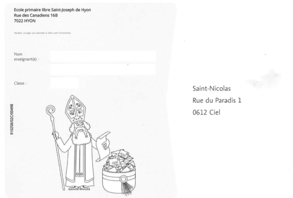 Et voilà, les lettres des élèves du cycle 2 sont parties pour la Rue du Paradis, 1 à 0612 Ciel !Saint Nicolas leur réserve une petite surprise...